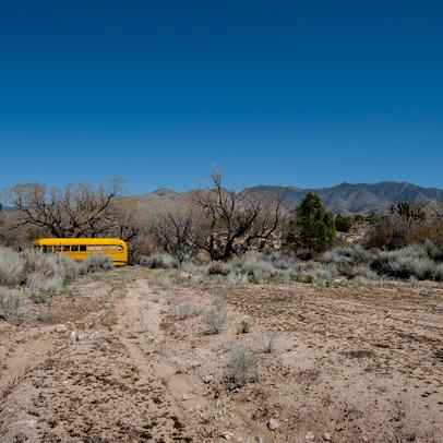 Bus in Death Valley Nevada border West