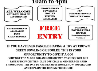 It's our 2nd Open Day, come along support your Club.