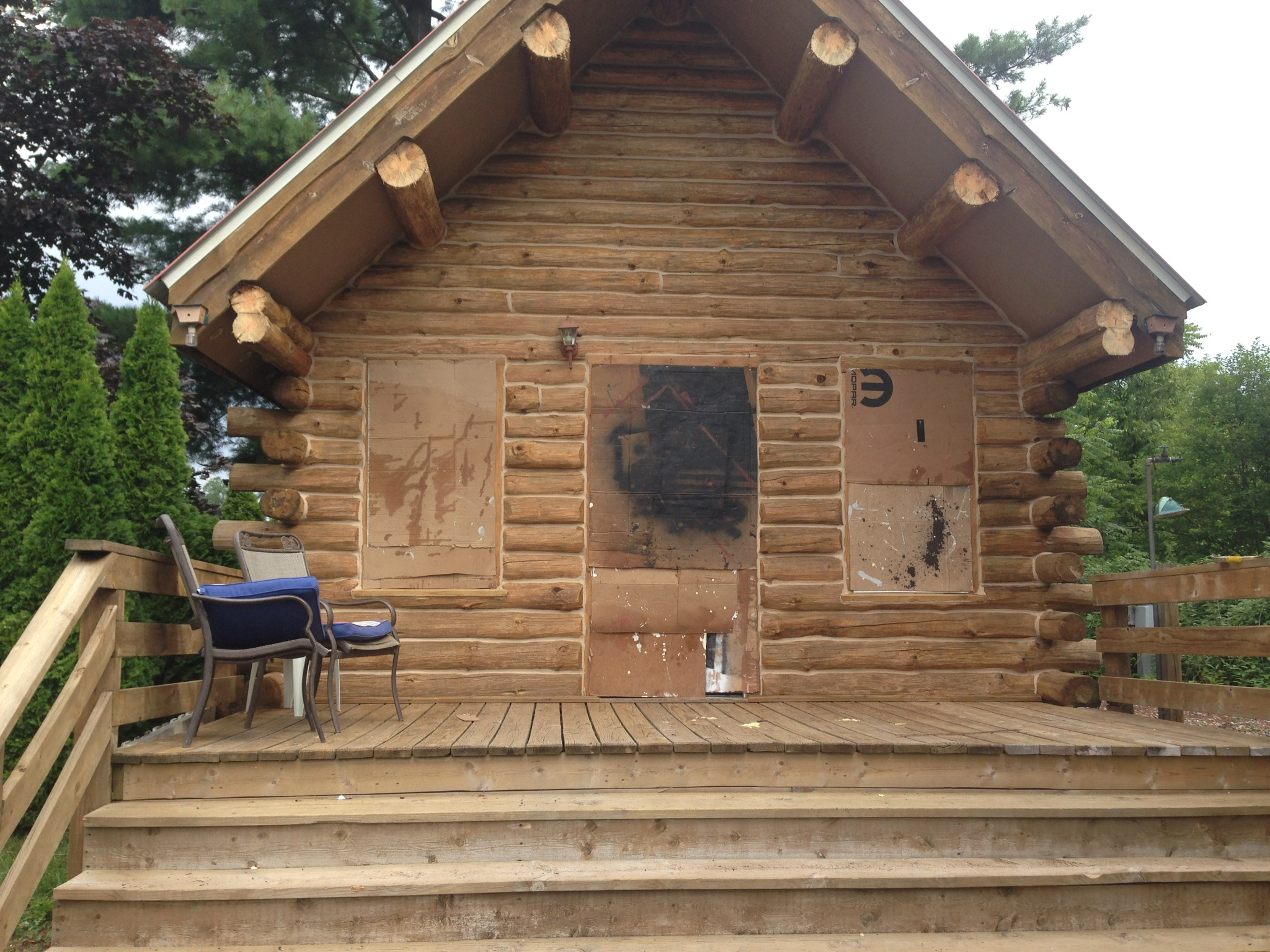 Cedar Cabin after ready to apply TWP Stain Ortonville