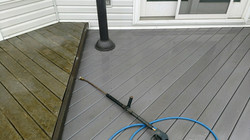 Dirty and Clean Composite Deck Wash