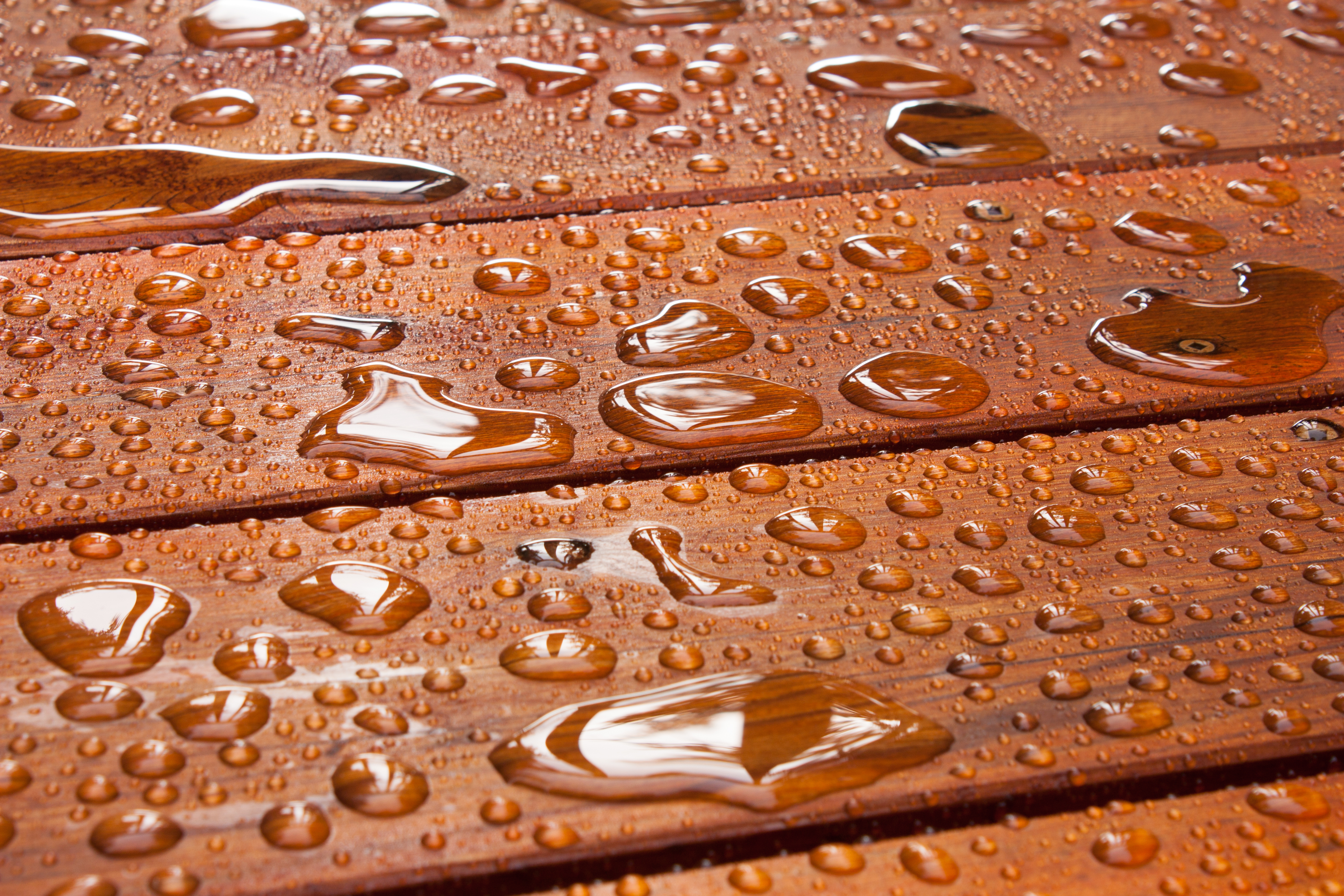 A close up on a recently sealed cottage deck just after the summer rain.jpg  Water beads up in refle