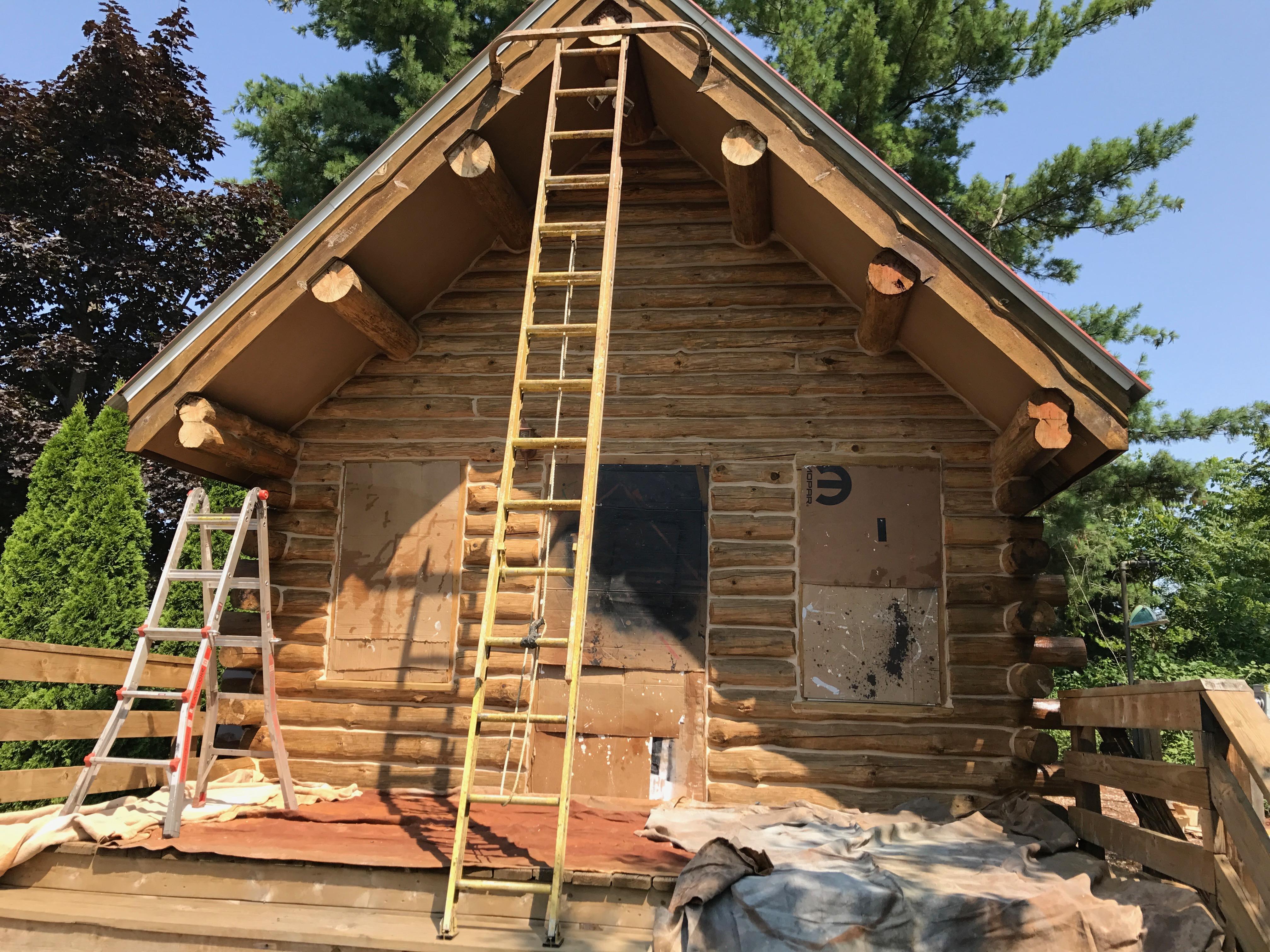 Cedar Log Home Stain with TWP