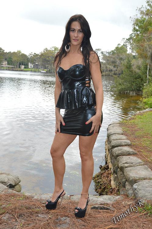Black Leathery Wet Look Peplum