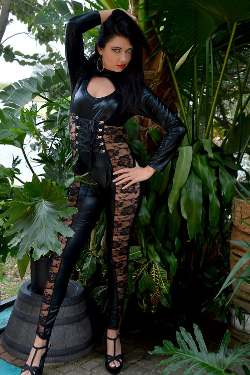 Black Leather/Lace Jumpsuit
