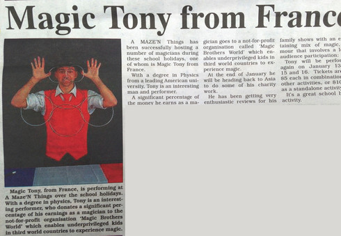 10.01.2018 Article about Magic Tony the Founder of Magic Brothers World raising funds in Australia and performing Charity Magic Shows in Asia