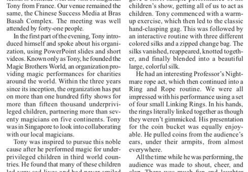 07.2018 Article about Magic Tony the Founder of Magic Brothers World performing Charity Magic Shows in Singapore