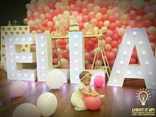 Our beautiful marquee letter lights at the Christening of Ella.