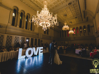 Our Marquee Love sign at Queen Victoria Building Tea Rooms.