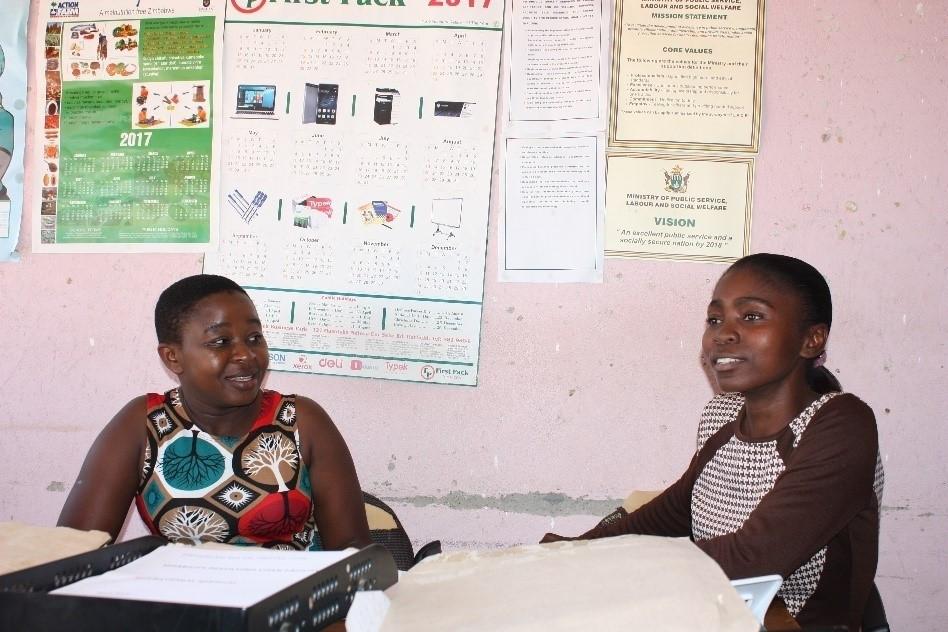 Zvandiri Mentor Charity (left) with Social Welfare Officer Fortunate Mlambo