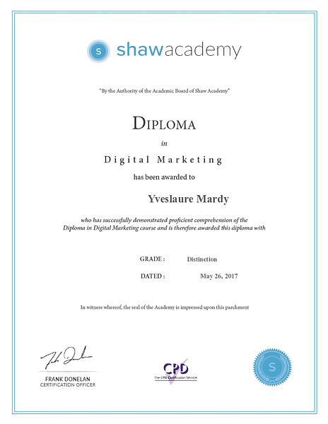 Digital Marketing Diploma Yveslaure Mard