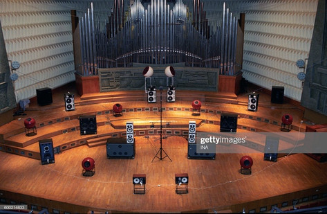 Concerts GRM in the Maison de Radio France: acousmatic cycle Its Moved 94. Scene of the Acousmonium for a concert of the GRM to the Maison de la Radio. (Photo by Michel Lioret / INA via Getty Images)