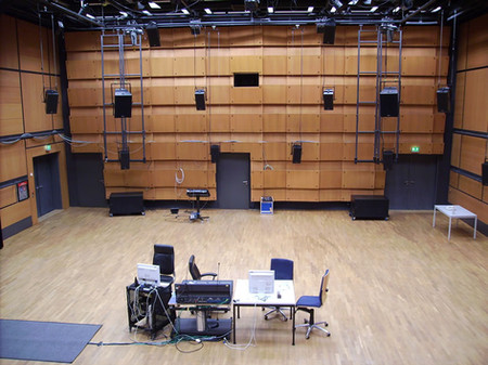 The Sound Dome in the ZKM's Blue-Cube, offering 47 loudspeakers. Photos © Bernhard Sturm / ZKM 2007.