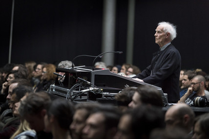 François Bayle at the mixing desk. 2017 © Photograph by Didier Allard