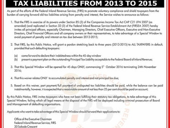 Nigeria: FIRS grants tax amnesty to defaulting companies which pay outstanding taxes