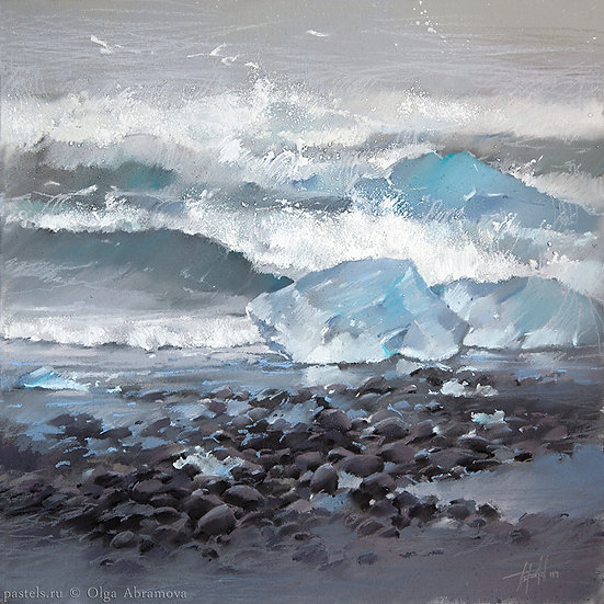 Льдины и океан Ice floes and The Ocean 50x50. 2014
