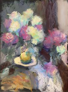 143. Яблоко и розы / Apple and Roses 40x30 cm, 2019