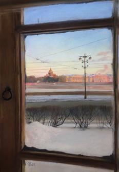 Снова Питер в моём окне 39x27см, 2021