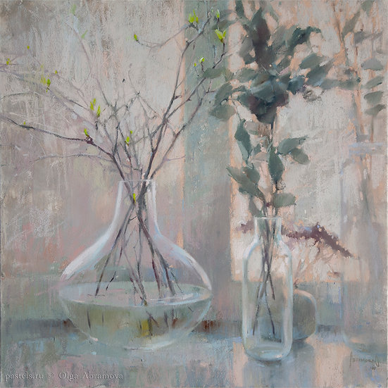 Старый эвкалипт и весна / Old eucalyptus and spring 70x70. 2020