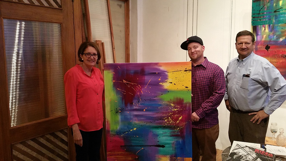 Collectors Hank & Cheryl Saipe with Artist Joshua Frye