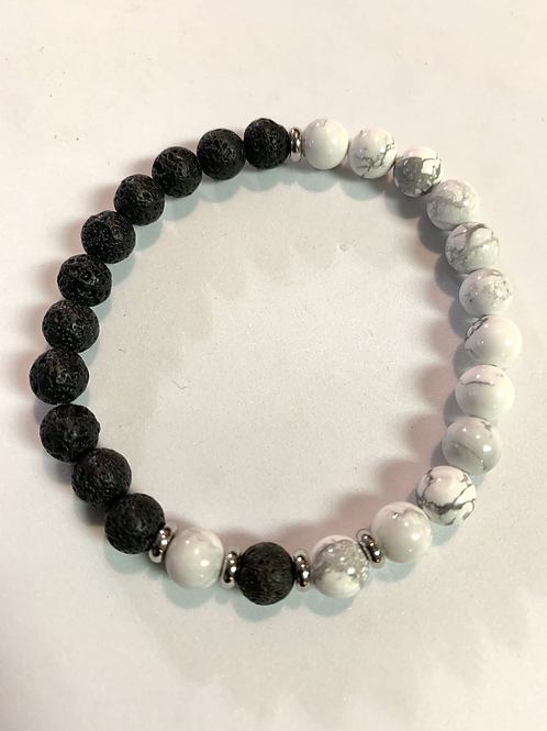 Lava Stone & Howlite Bracelet