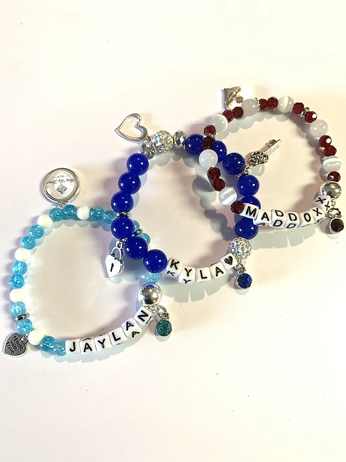 Birthstone Name Bracelet Set