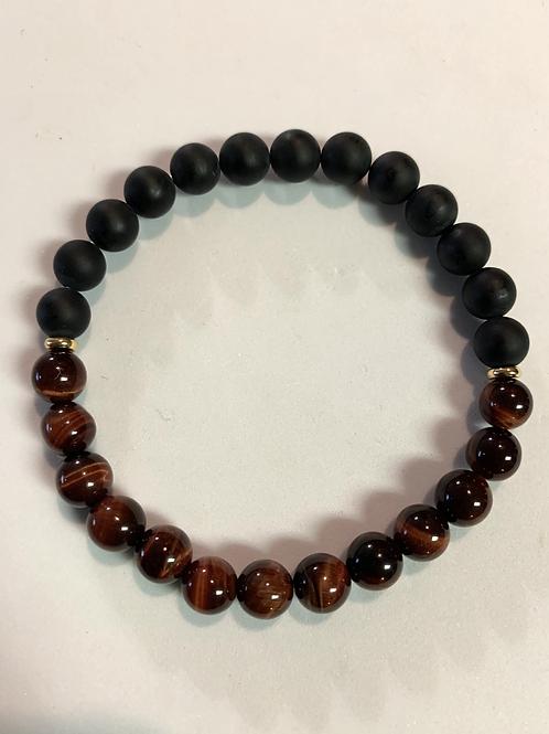 Red Tiger Eye & Black Matte Onyx Bracelet