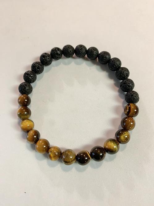 Brown Tiger Eye & Lava Stone Bracelet