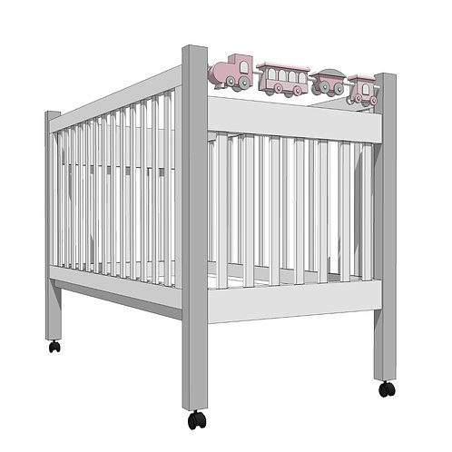MARSHMALLOW CRIB with toy train -MY LITTLE WORLD/PINK