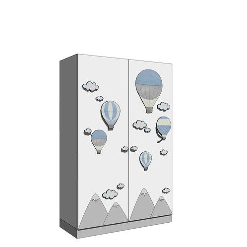 WARDROBE 120x195 cms (2)/(2+2) -Model B - MY LITTLE WORLD/BLUE