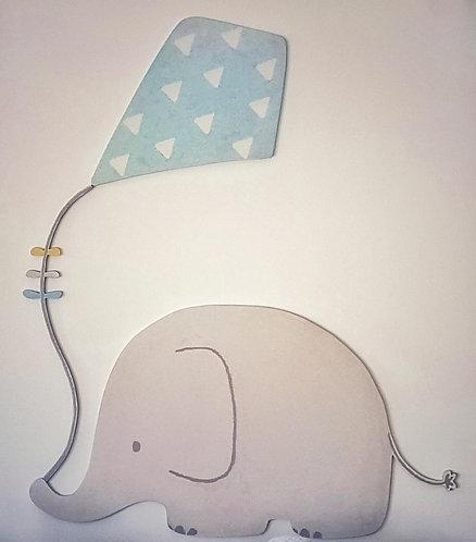 ELEPHANT with kite wood decor- MY LITTLE WORLD/BLUE