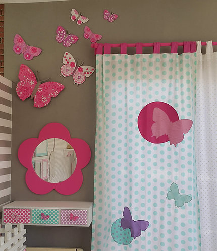 BUTTERFLIES/CURTAIN Panel with tab heading for rod