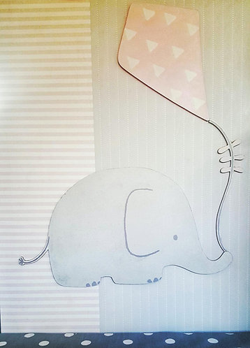ELEPHANT with kite wood decor- MY LITTLE WORLD/PINK