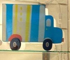 Sitting light-White & blue truck