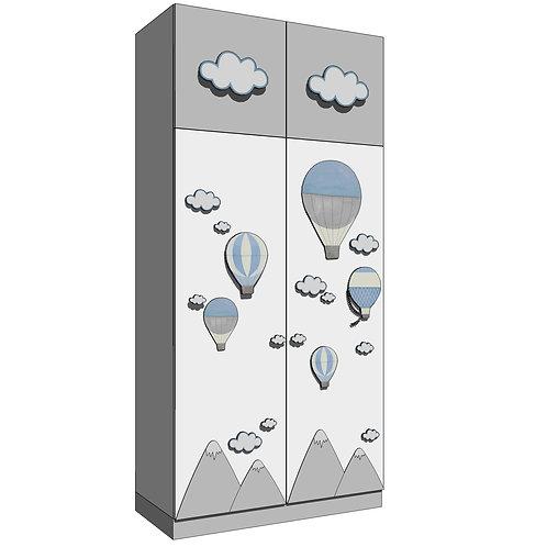 WARDROBE 120x250 cms(4)/(4+2)/(4+5) - MODEL B-MY LITTLE WORLD/BLUE