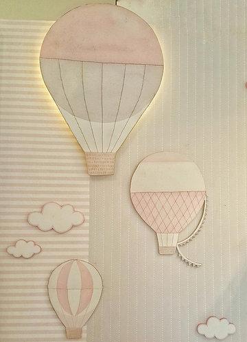 HOT AIR BALLOON LIGHT APPLIQUE+set of wood decor-MY LITTLE WORLD/PINK