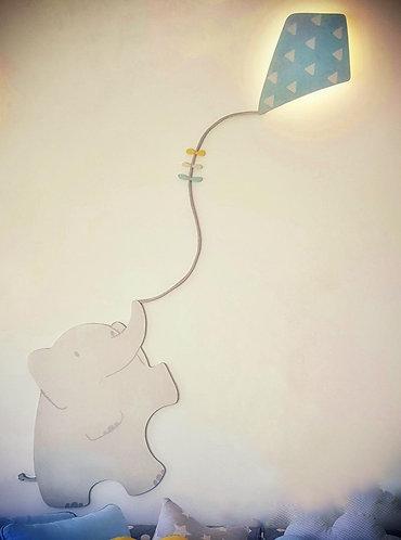 ELEPHANT LIGHT APPLIQUE-MY LITTLE WORLD/BLUE