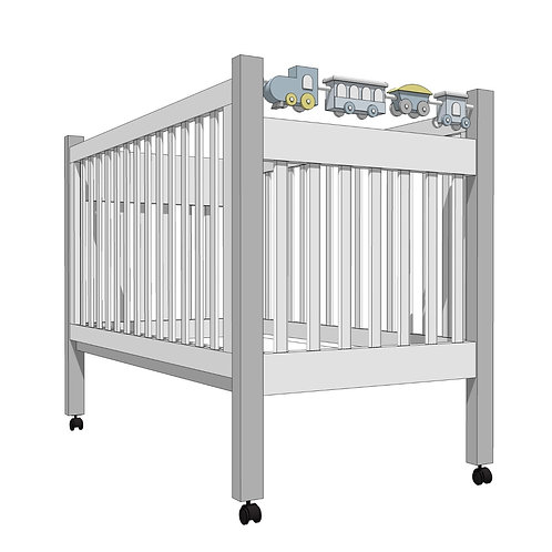 MARSHMALLOW CRIB with toy train -MY LITTLE WORLD/BLUE