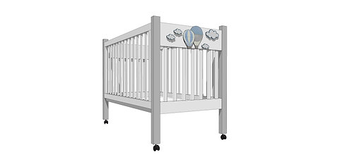 MARSHMALLOW B CRIB-MODEL B - MY LITTLE WORLD/BLUE