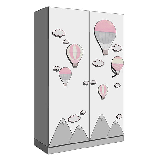WARDROBE 120x195 cms (2)/(2+2) -Model B - MY LITTLE WORLD/PINK