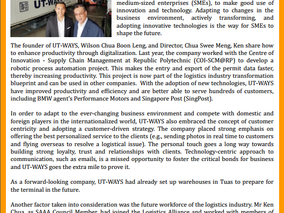 We are featured on SAAA@Singapore Quarterly perspectives. Paving a better future with innovative tec
