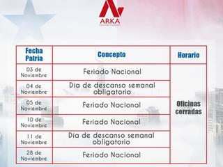 Horario de Fiestas Patrias 2019
