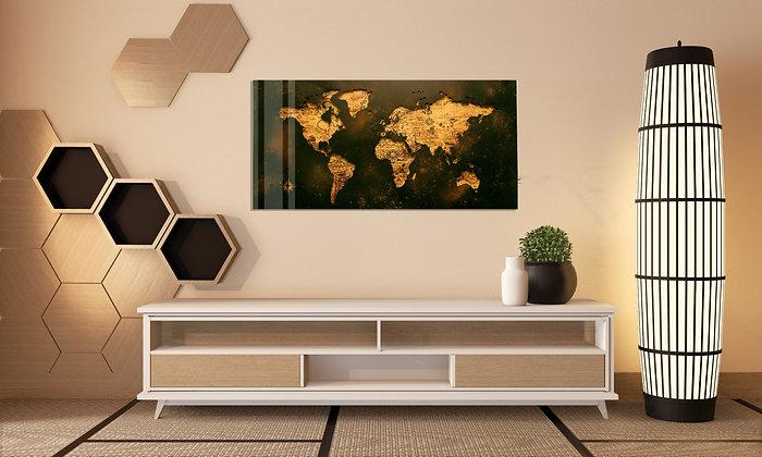 Dünya Haritası Temalı Cam Tablo