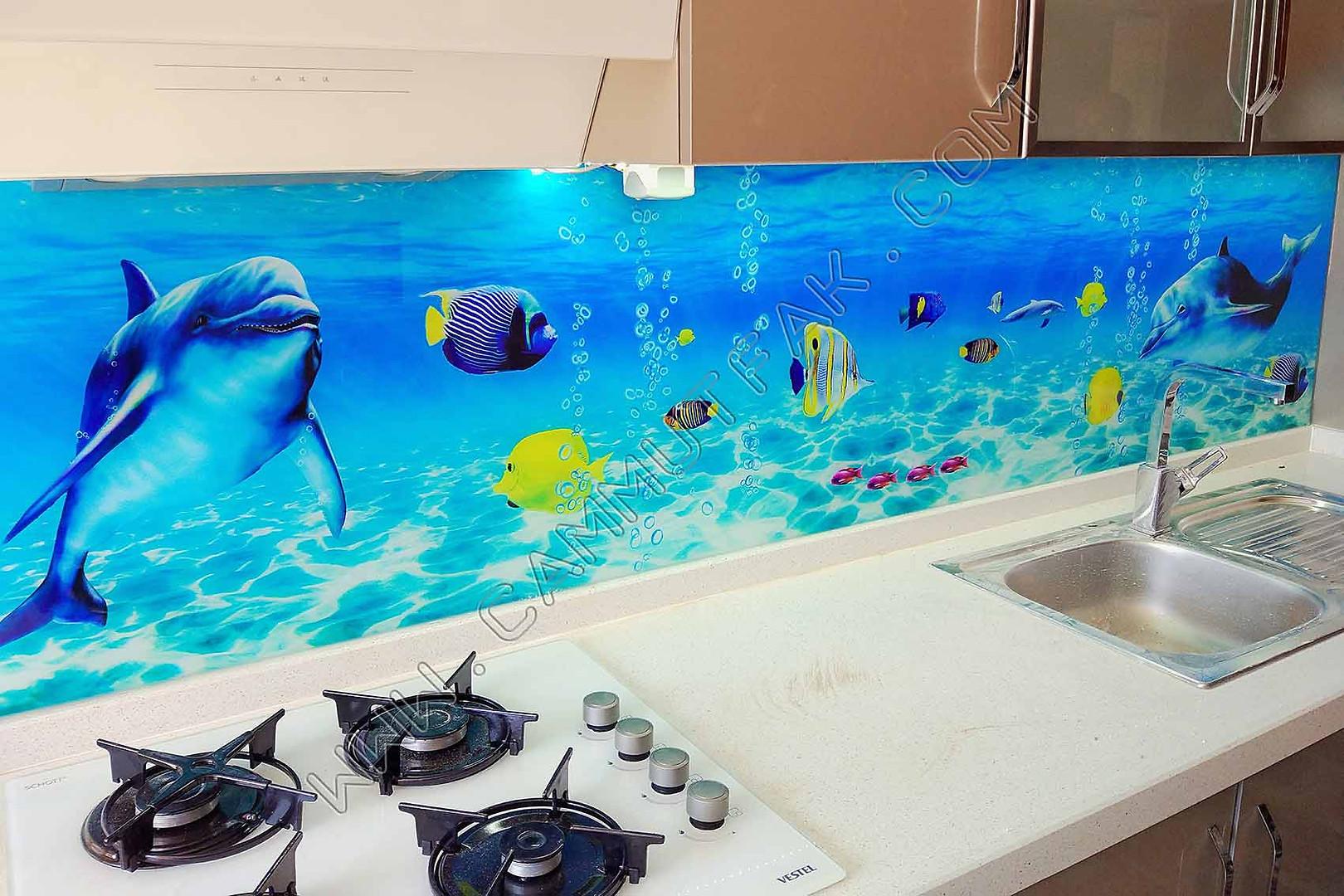Balık resimli tezgah üstü cam
