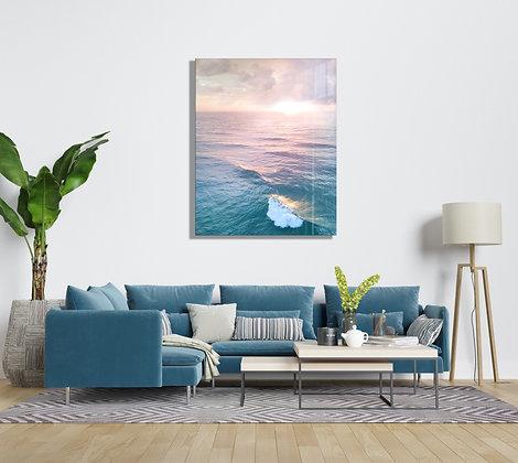 Günbatımı ve Deniz Temalı Cam Tablo