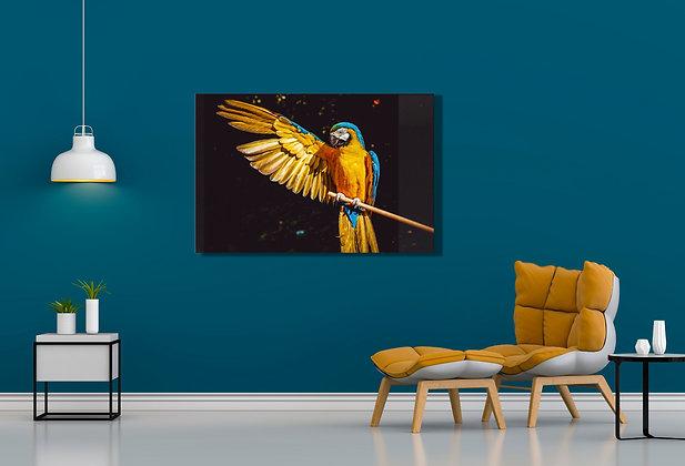 Papağan Temalı Cam Tablo