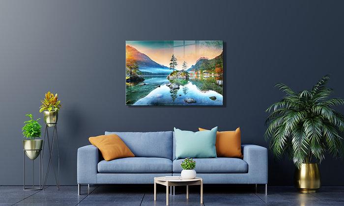 Göl Temalı Cam Tablo