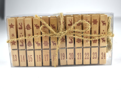 Wooden Advent Calendar Pegs