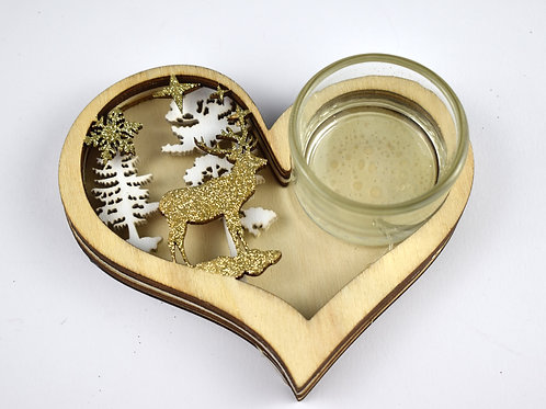 Wooden Heart Tealight Holder