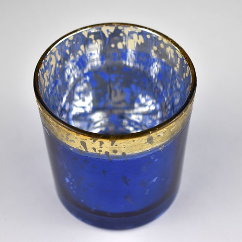 Blue and Gold Glass Tealight Holder