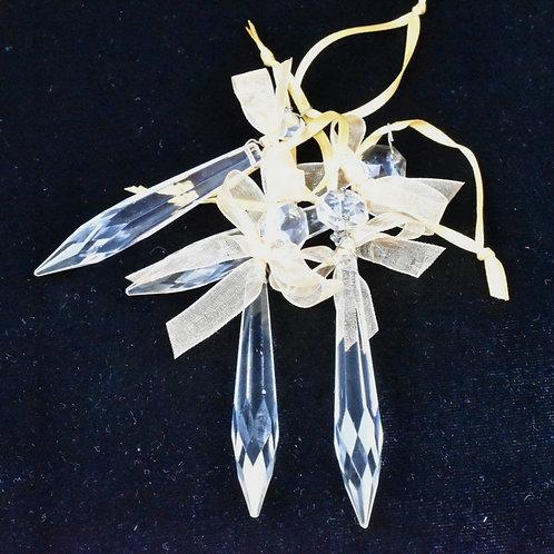 Warm Gold Chandelier droplet decorations - set of 4